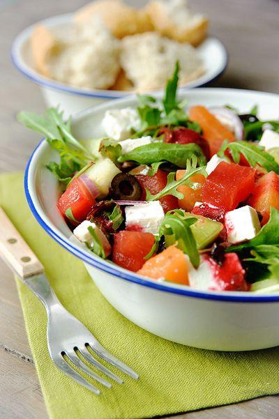 recept frisse salade met meloen en feta njam. Black Bedroom Furniture Sets. Home Design Ideas