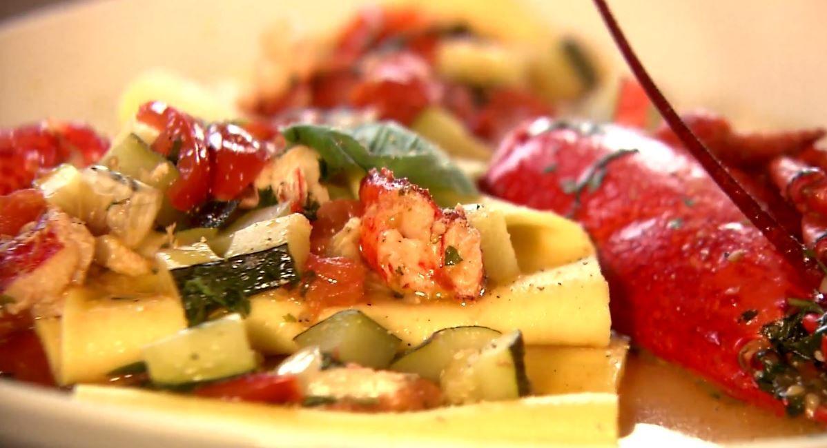 Open ravioli met kreeft