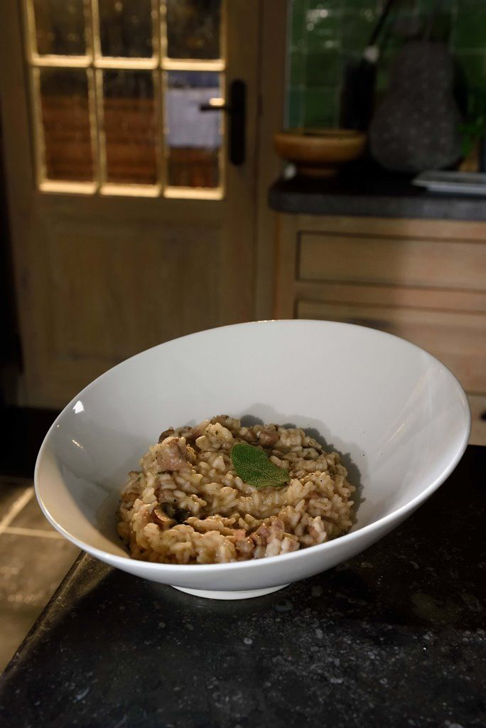 Risotto met champignons en salsiccia