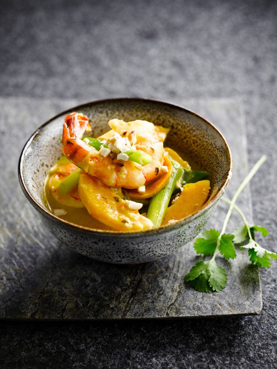 Scampi in curry met pompoen