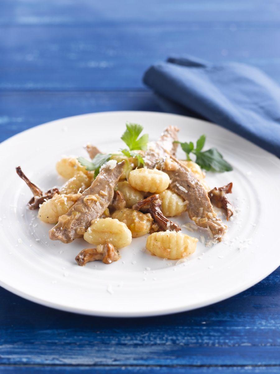 Gnocchi met boschampignons en kalfsvlees