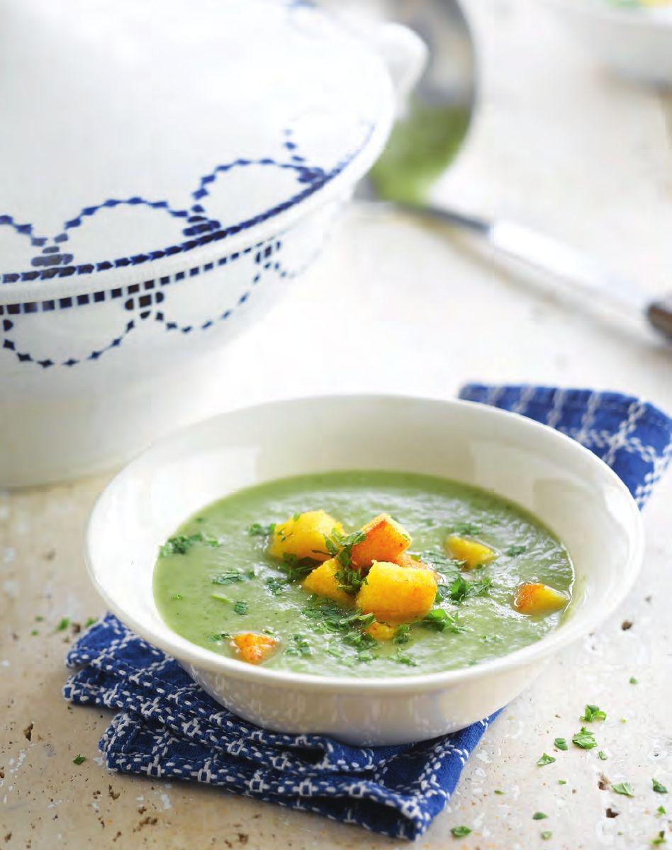 Broccolisoep met polentacroutons