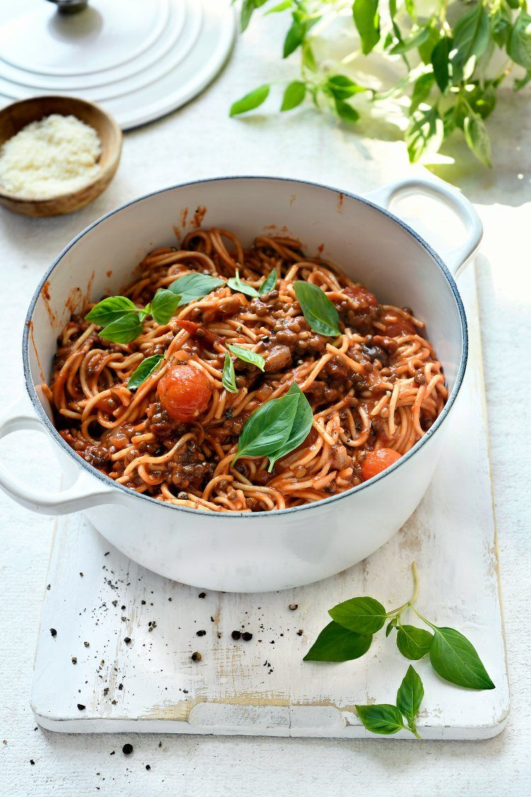One pot spaghetti met linzenbolognese