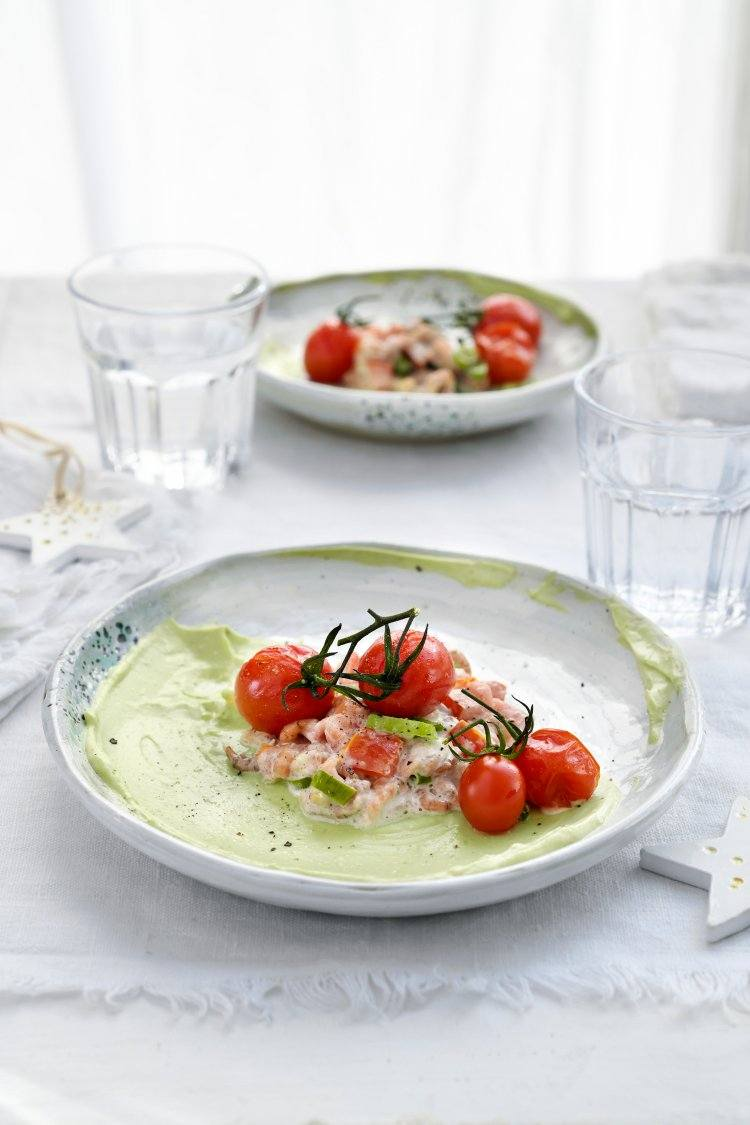 Feestelijke tomaat-garnaal