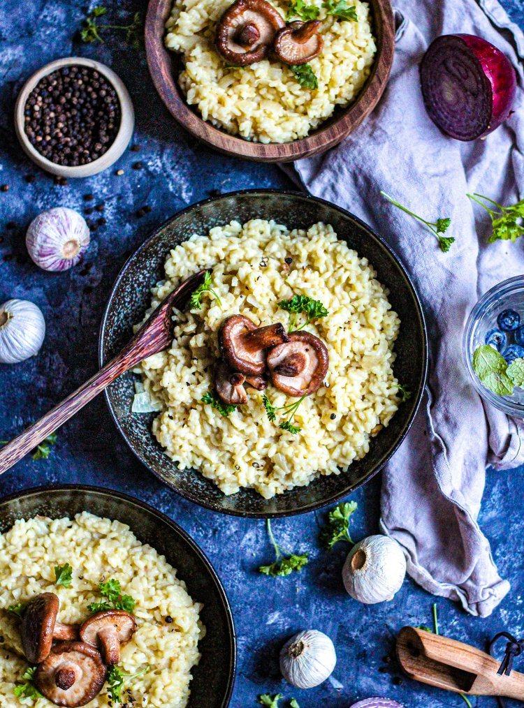 Vegan risotto met shiitake en tijm