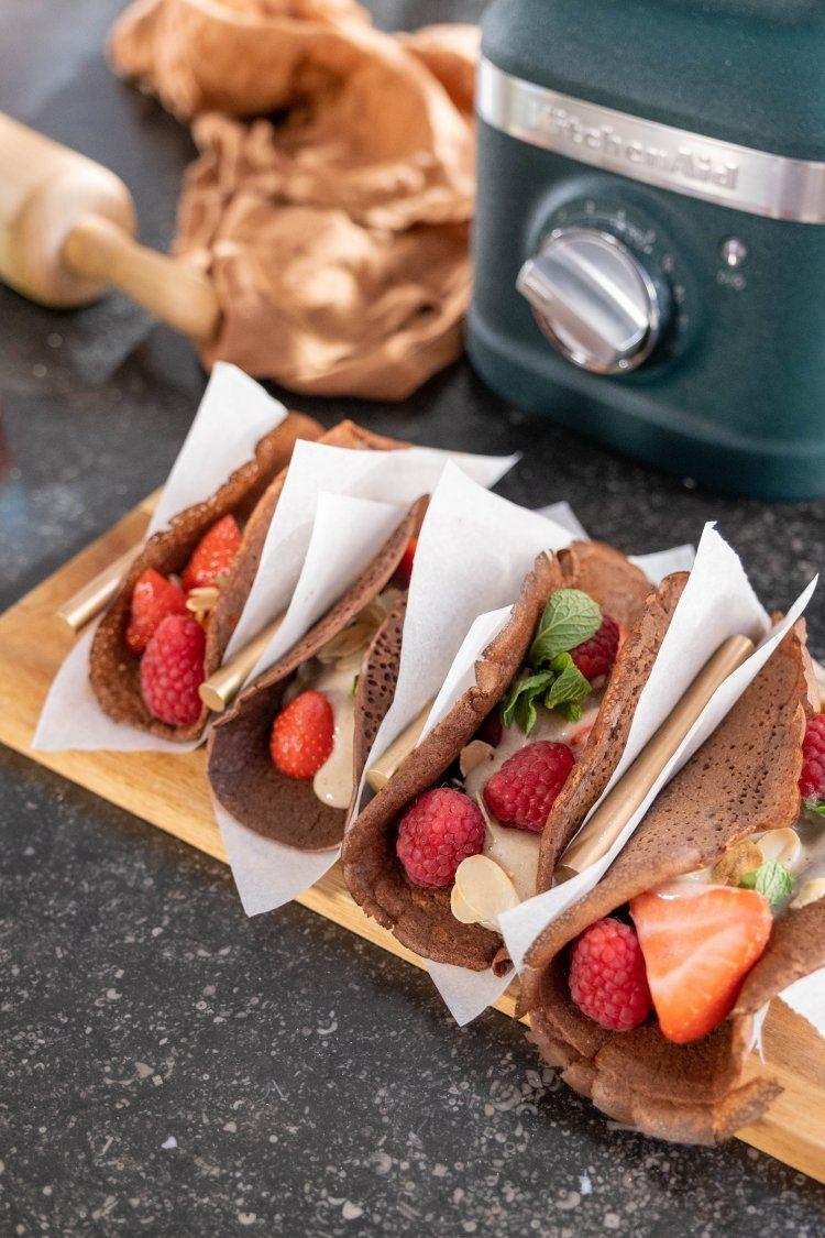 Chocolade pancake taco's