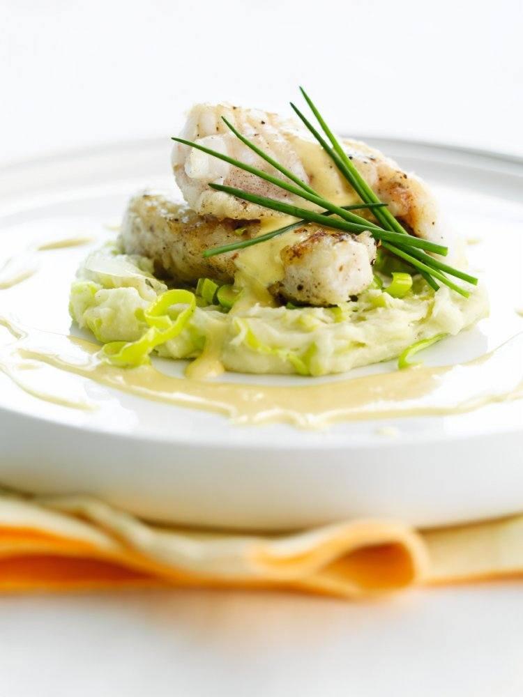 Staartvis met preipuree en mousseline