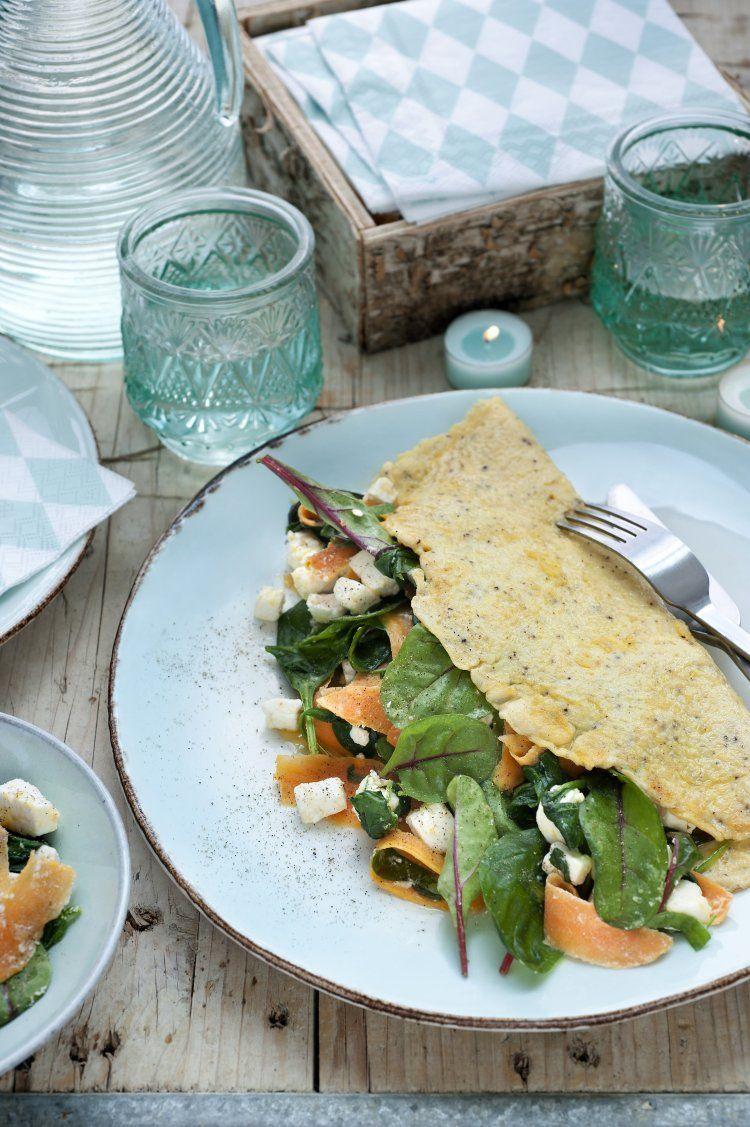 Luxe omelet met zoete aardappel en spinazie