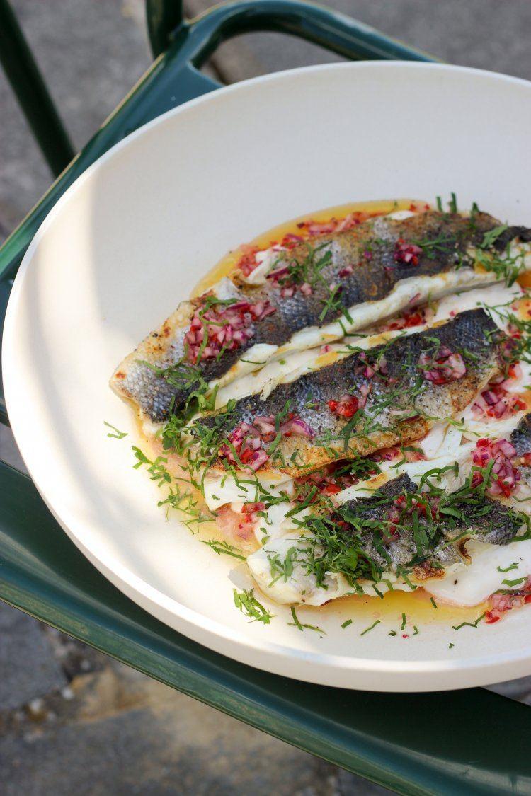 Ceviche van gegrilde zeebaars