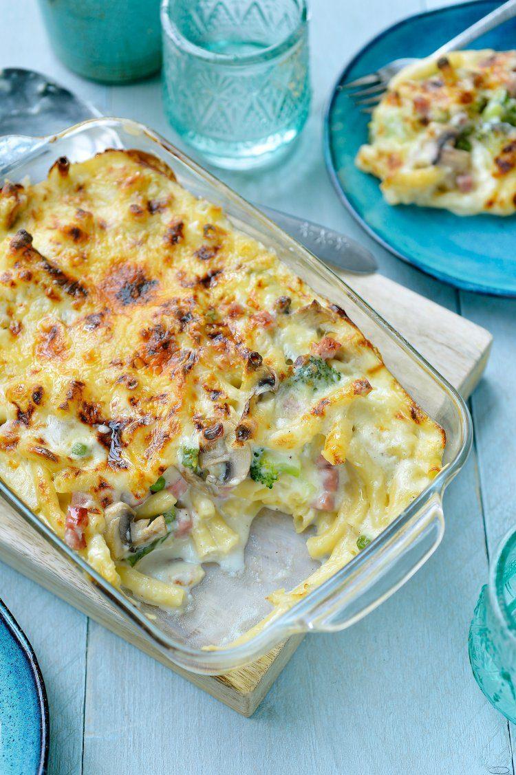 Macaroni met kaas, ham en veel groentjes