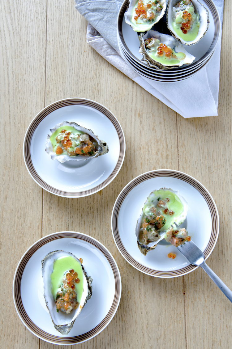 Tartaar van oesters met zalm