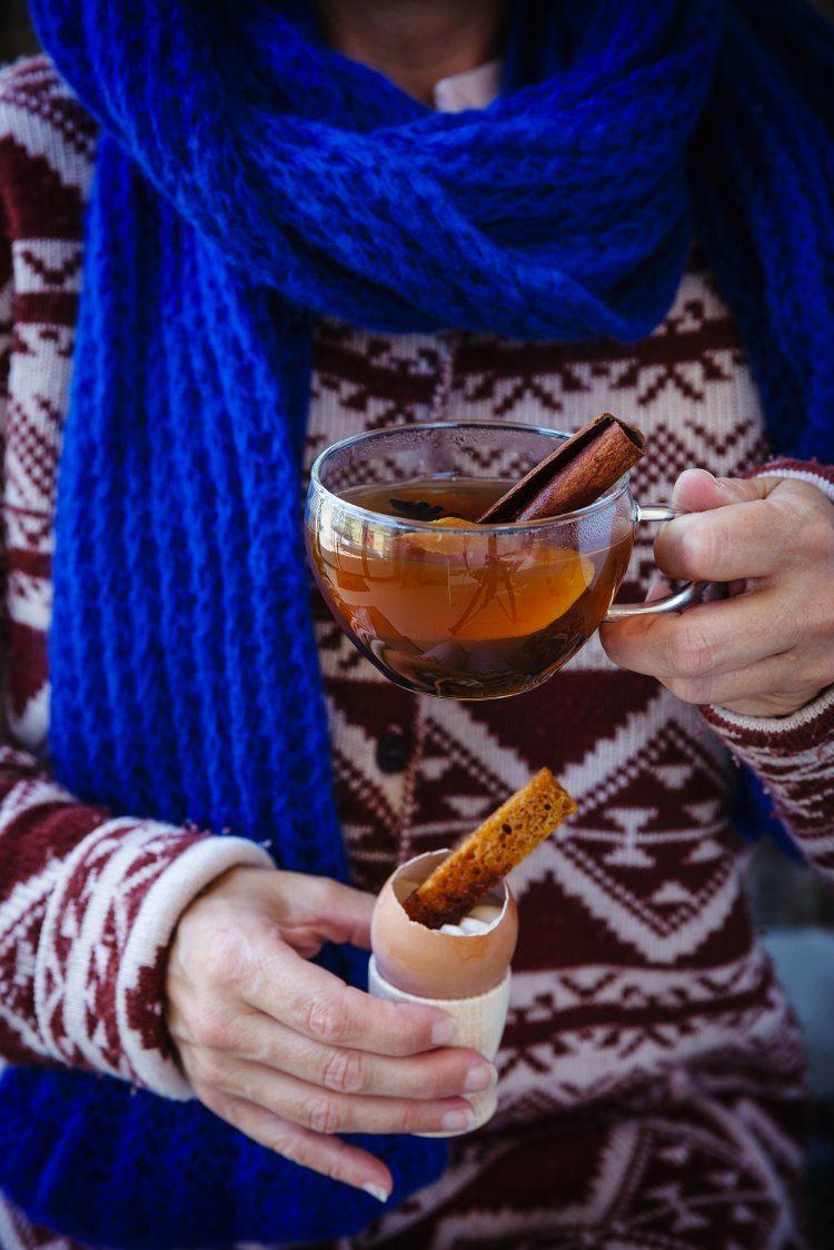 Hot wine deluxe & Halfgaar eitje met balsamicoroom